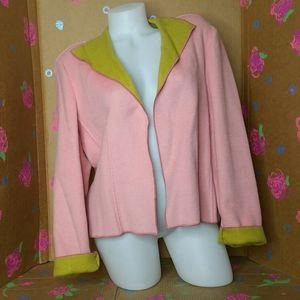 Harve Benard Pink & Chartreuse Green Blazer 14